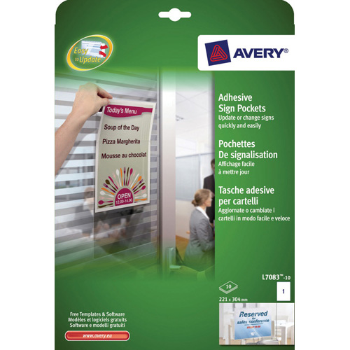 PRINTABLE SIGNS :: AVERY L7083 SIGN POCKETS 221x304mm