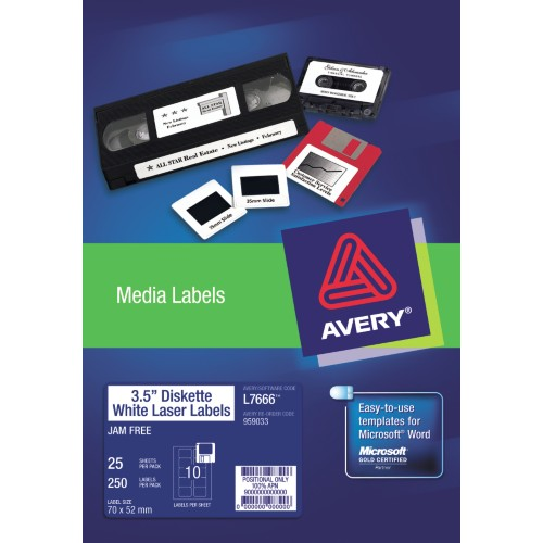 LABELS :: AVERY L7666-25 10L/S 3.5 DISK