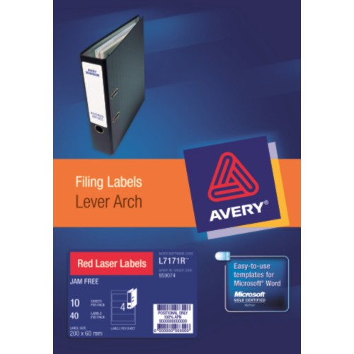 LABELS :: AVERY L7171 L/ARCH RED 4L/S