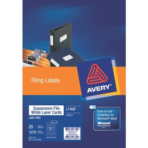 LABELS :: AVERY L7409-25 SUSPENSION FILE TAB
