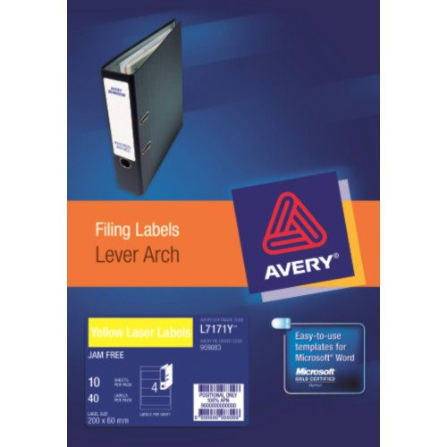 LABELS :: AVERY L7171Y-10 4L/S YELLOW